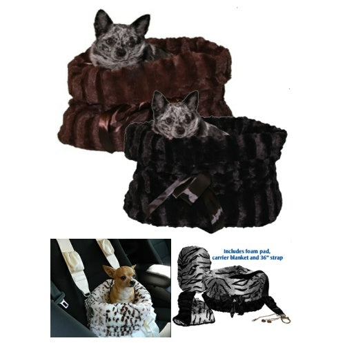 Plush pet bed, car seat and pet carrier in one. Available in black or brown.