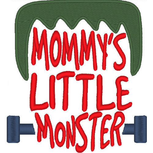 Mommy's Little Monster Halloween dog shirt embroidery close up.