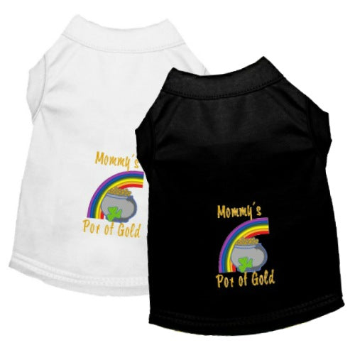Mommy's pot of gold st patrick's day dog tee shirts embroidered.