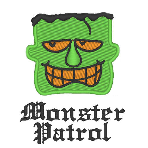 Halloween Dog Shirt - Monster Patrol embroidery close up