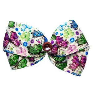 A cute butterflies print dog hair bow for medium to large dogs.