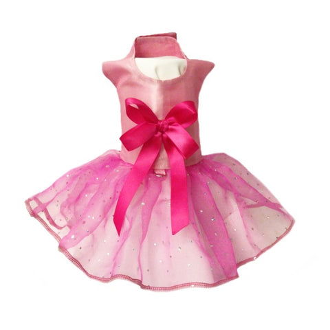 Pretty Pink Princess dog dress with satin bow
