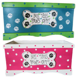 My Toys Paws Off dog toy box.