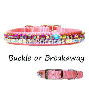 A beautiful pink collar with aurora borealis crystals for small pets.