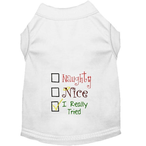 Cute dog shirt with check boxes for naughty, nice and I really tried.