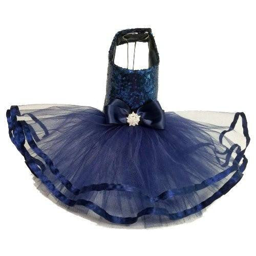Navy blue sequin dog tutu dress.