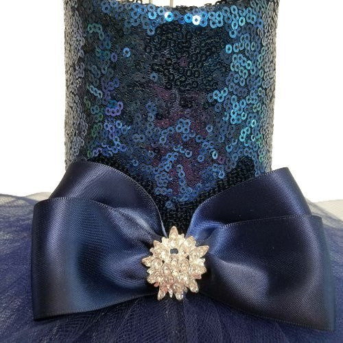 Navy blue dog dress in sequin.