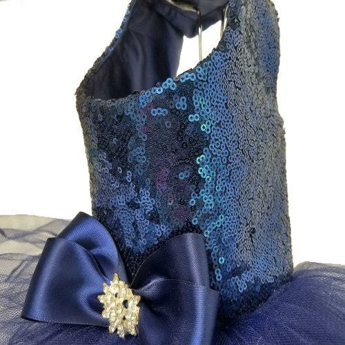 Navy blue sequin dog dress side view.