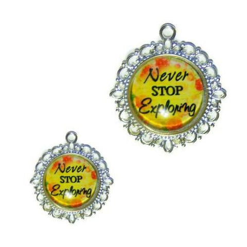 Never Stop Exploring Dog Tag - pet charm - dog-collar-fancy