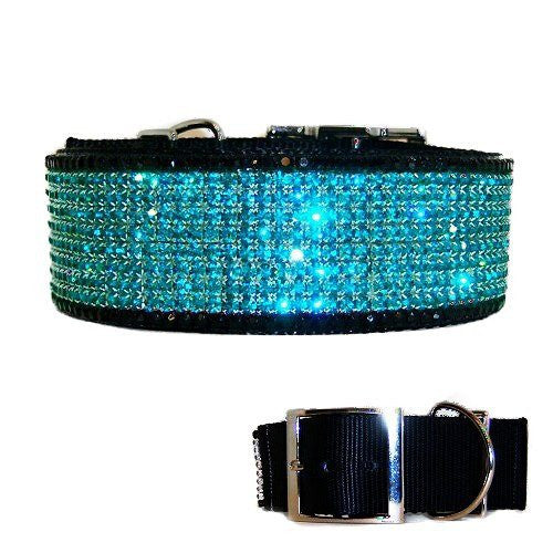 This gorgeous 2 inch wide large crystal dog collar is decorated with black and teal crystals.