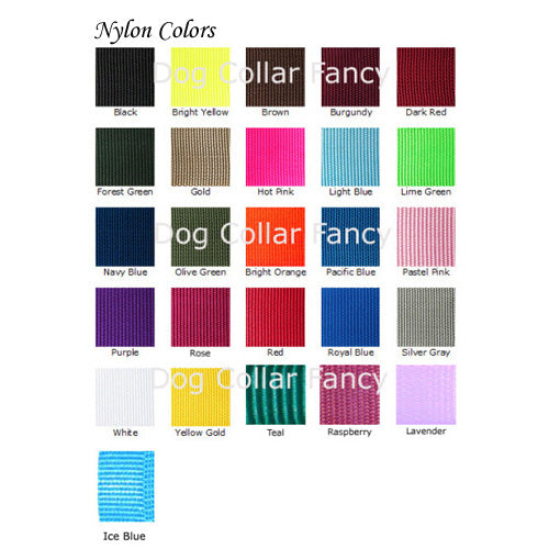 Nylon pet collar color chart