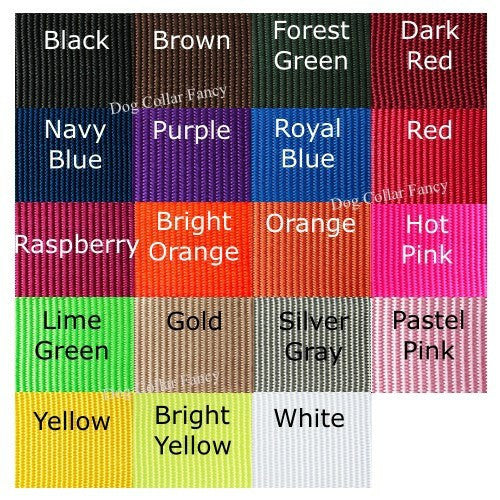 1 1/2 Inch Wide Personalized Dog Collar color chart