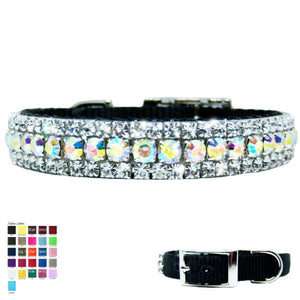 Sparkly aurora borealis and crystal pet collar