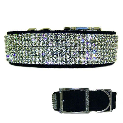 Large dog crystal collar in black with 10 beautiful rows of black diamond crystals.