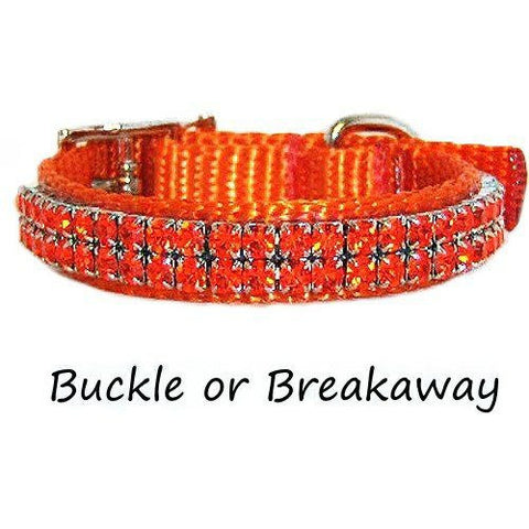 Our orange pet collar is decorated with hyancinth orange crystals perfect for summer.