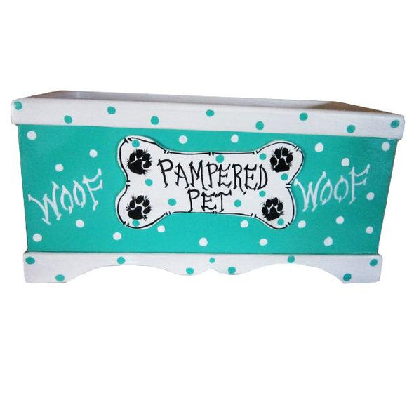Wooden dog toy box in teal with bone and pawprints