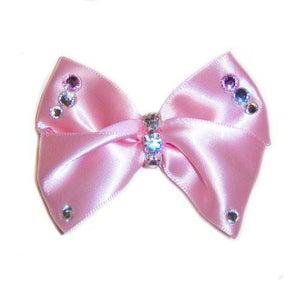 Pastel pink satin dog hair bow with crystals.