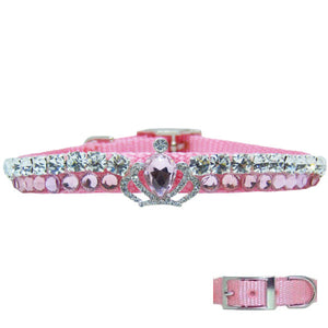Light rose pink and crystal collar with crown