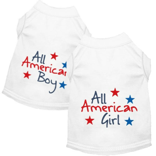 All American patriotic dog shirts for girl and boy dogs of all sizes.