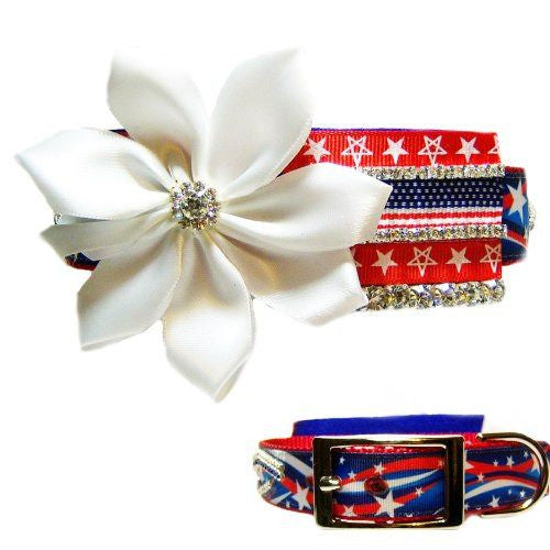 A fancy patriotic dog collar with satin flower and crystals.