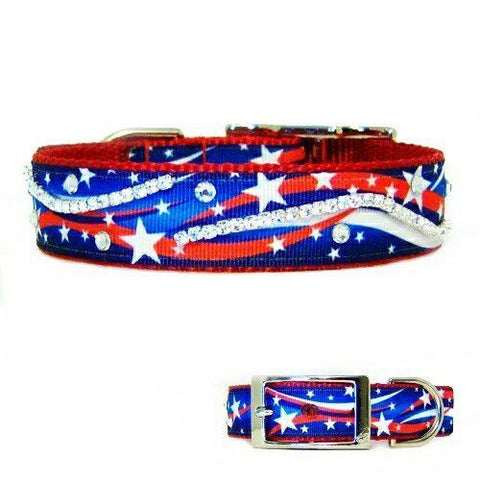 A bright, patriotic dog collar that is very unique and decorated with crystals.