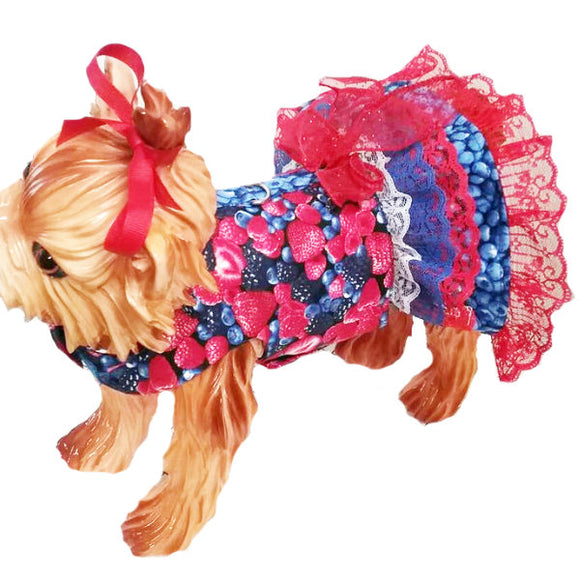 Berries printed dog dress with ruffle