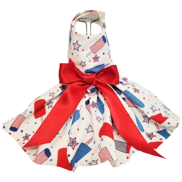 Patriotic dog dress with Popsicle print
