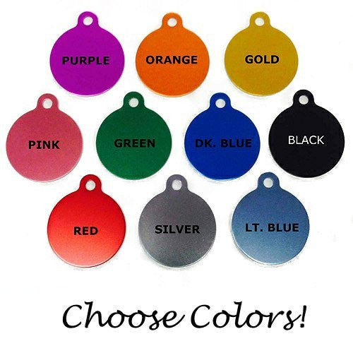 Personalized dog collar plate color choices.
