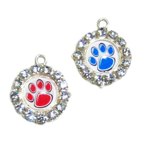 Pet Collar Charm - Crystal Paw Prints - pet charm - dog-collar-fancy