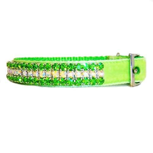 Peridot crystal lime green pet collar side view