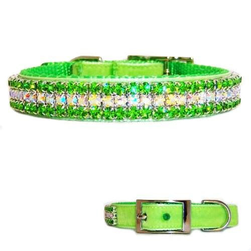 A peridot crystal lime green velvet pet collar for dogs and cats.