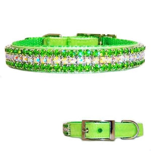 Peridot Sparkle Crystal Velvet Collar - dog-collar-fancy