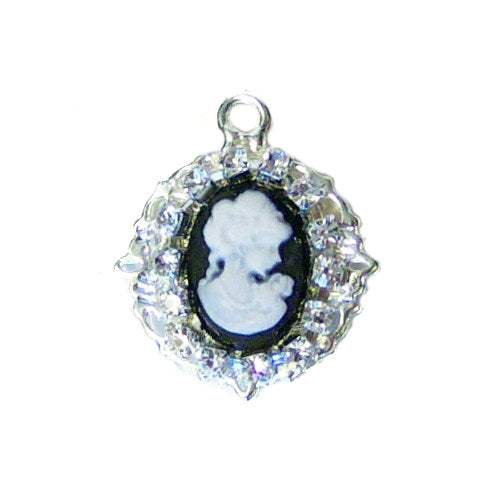 Crystal cameo charm for pet collars