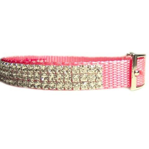 Personalized crystal pet collar side view.