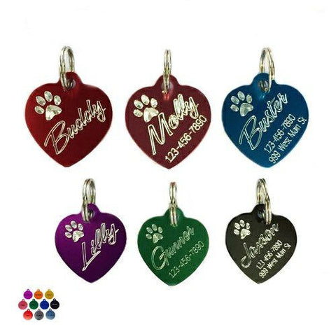 These slanted heart personalized pet tags come etched with a paw print.