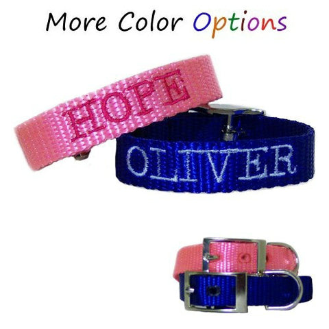 Embroidered personalized pet collars for dogs and cats.