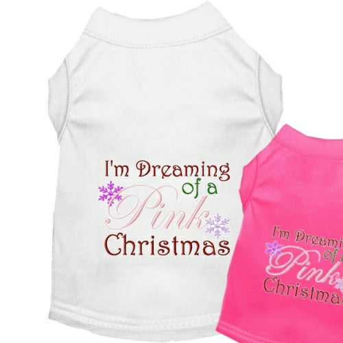 Christmas Dog Shirt - Pink Christmas - Small to Large Dogs - dog-collar-fancy