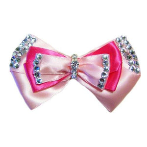 Triple satin dog hair bow in pink with crystals.