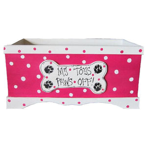 Hot pink and white polka dot dog toy box