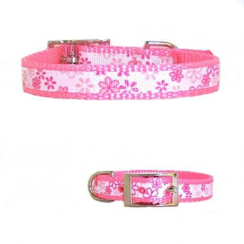 Pretty Pink Flowers Pet Collar - For dogs and cats - dog-collar-fancy