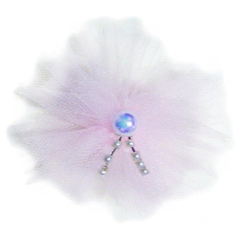 Pearls on Pink Poof Dog Hair Bow - Small to Large Bow - dog-collar-fancy