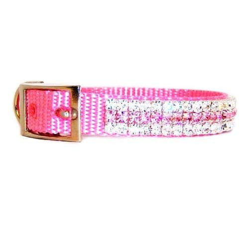Pink princess crystal pet collar side view.