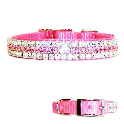 Pink princess crystal jeweled pet collar with clear and pink crystals.