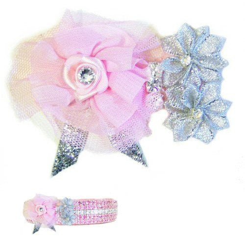 A pink rose with silver flowers pet collar accessory for all pets.