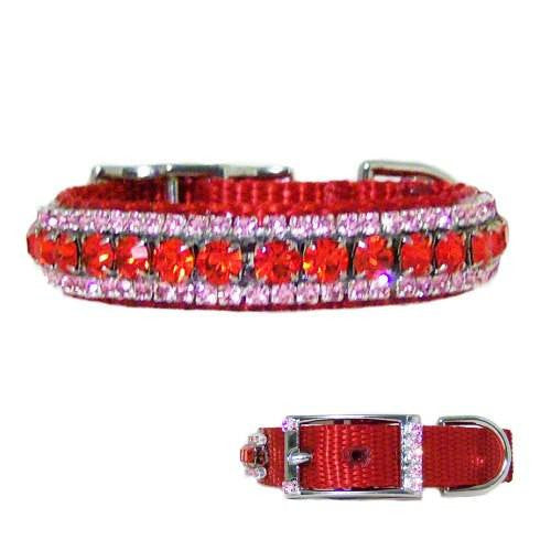Our pink strawberries red and pink crystal pet collar is perfect for girl dogs and cats.