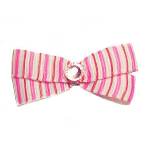 This cute pink pinstripe dog bow is embellished with a crystal in the center.