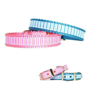 Cute nylon pet collars decorated with a pinstripe pattern available in both pink and blue.
