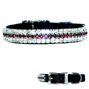 A sparkly pet collar with amethyst purple and clear crystals for dogs and cats.