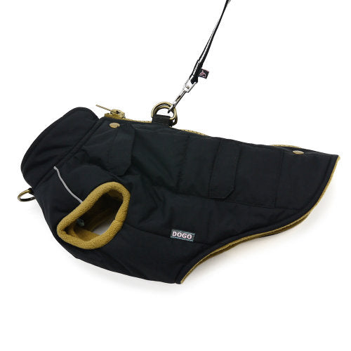 Winter Dog Coat with Pockets leash attachment view