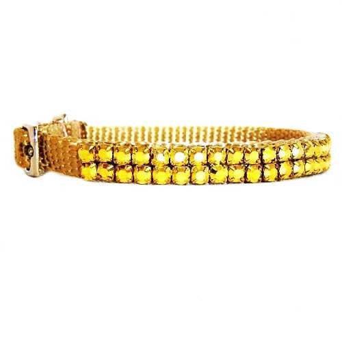 Pooch In Gold Small Crystal Pet Collar - dog-collar-fancy